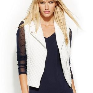 INC Quilted Faux Leather Moto Vest