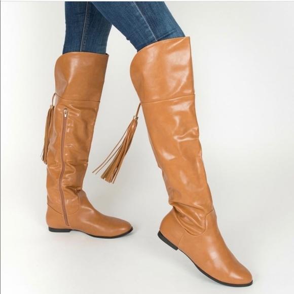 38065350ec3 Tan Tassel Fringe Knee High Flat Boots
