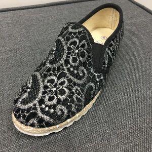 Shoes - Black slip on espadrille