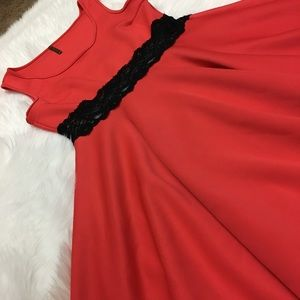 Dresses & Skirts - Dark Coral Wide Strap Dress With Lace Waist.