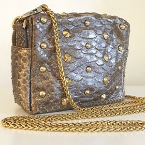 Handbags - Mini Gold Crossbody Bag.