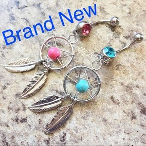 Pink Blue x2 Dream Catcher Belly Ring