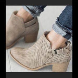 Shoes - Buckle Bootie in beige.