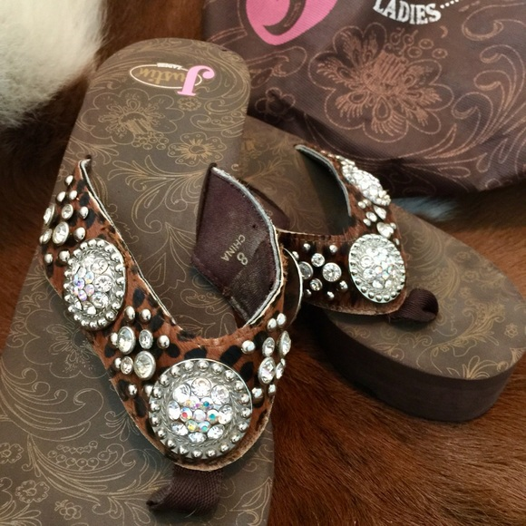 e31e0f2a2 Justin Boots Shoes - JUSTIN Jeweled Western Flip Flops Sandals