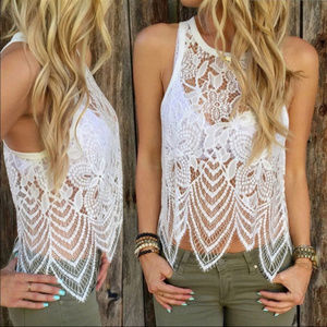 Other - Summer Beach White Lace Sleeveless Tank Top + Gift