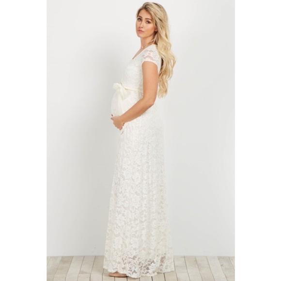 09bd59bc1f31b PinkBlush Ivory Lace Sash Tie Maternity Gown. M_59963ba678b31c4efc04fd1e