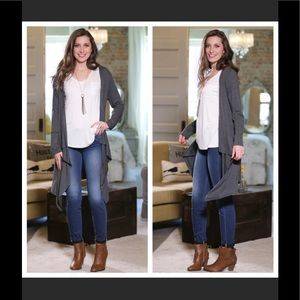 Sweaters - Gorgeous on! Charcoal waterfall open cardigan.