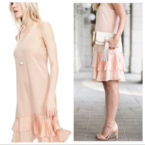 NWT BR Blush Tiered Pleated Drop Waist Dress