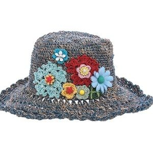Accessories - Beautiful ladies blue hat w/embroidered designs