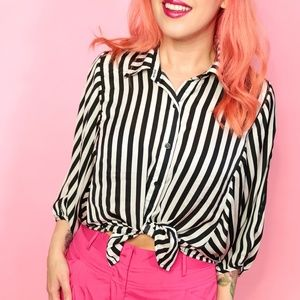Sans Souci Tops - Black and White Striped Top