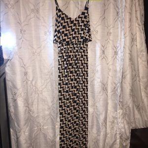 Dresses & Skirts - Black and cream striped peplum maxi dress