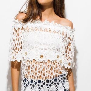 Other - White lace off shoulder boho beach cover up top