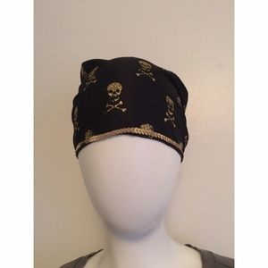 NEW Gold Glitter Skull and Crossbones Bandana