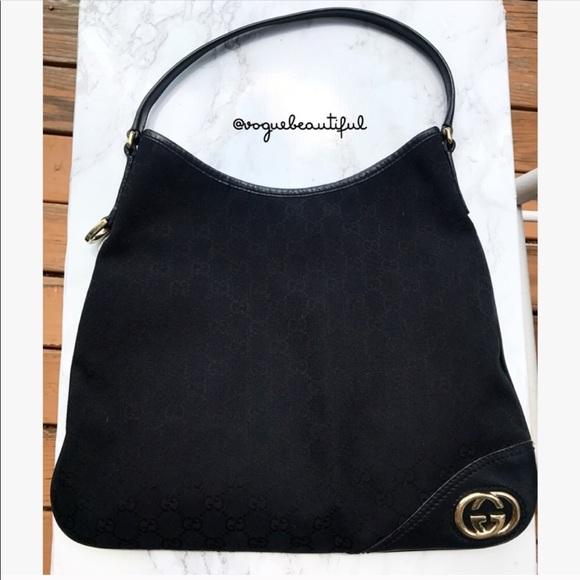 755284d84e7 Gucci Handbags - Gucci Monogram Britt Medium Hobo Black