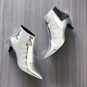Zara silver ankle booties