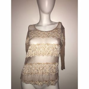 Daytrip Lace Cotton Blend 3/4 Sleeve Top Sz Small