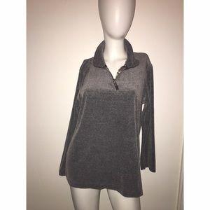 Liz Claiborne Grey 1/4 Zip Velvet Like Pullover