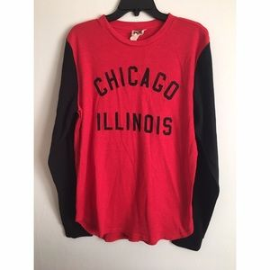 CHICAGO Black and Red Thermal Long Sleeve Sz L