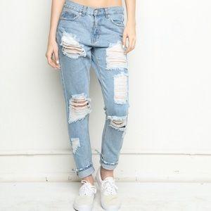 Melville Destroyed Boyfriend Distressed Jeans