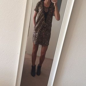 NWOT cheetah lace up dress