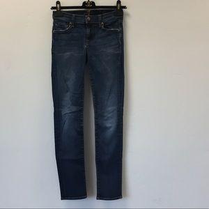 7 For All Mankind Blue Slim Cigarette Jeans 24