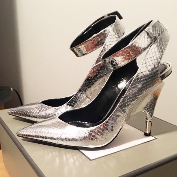 Tom Fordsilver Metallic Snakeskin Heels