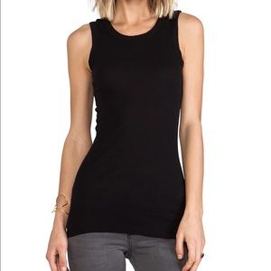 Tops - James Perse Black Ribbed Crewneck Long Tank 2/M
