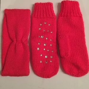 H&M hot pink knit mittens and headband