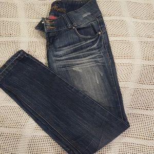 Denim - Distressed blue jeans
