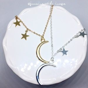Moon & My Stars Charm Gold Silver Necklace Dainty