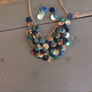 Jewelry - Blue Green Statement Necklace, Matching Earrings