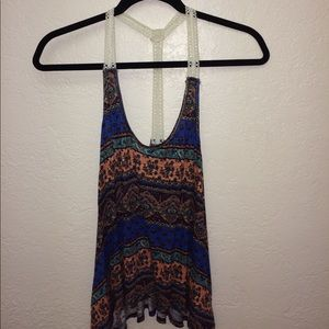 Colorful Lace Strapped Tank Top