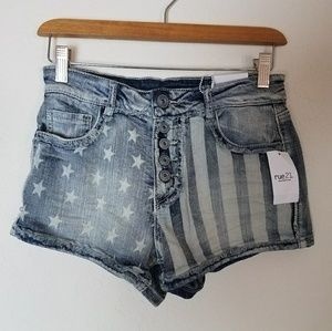 NEW Faded American Flag USA Denim Jean Shorts 5 6