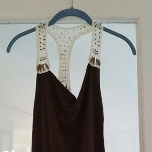 Romeo and juliet brown and lace sleeveless top. S.