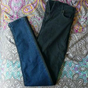 H&M Black and Blue Half n half Jeans