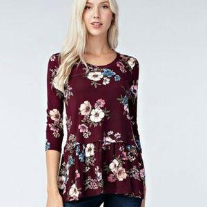 Burgundy floral ruffle hem top