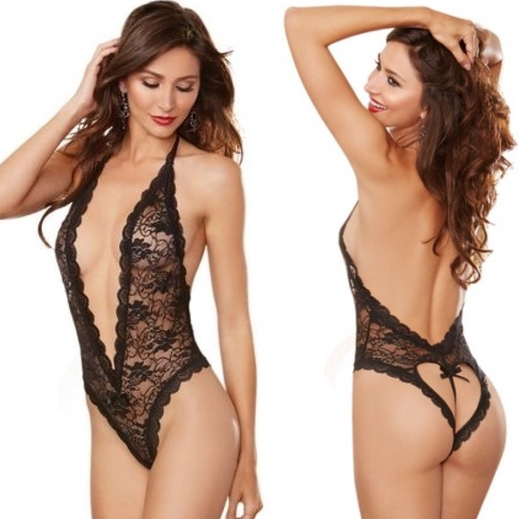 fc690e4bd Hot Halter Lace Teddy Heart Cut-out Booty Lingerie