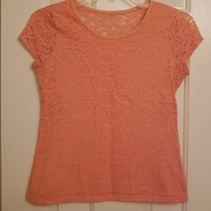 SO: Lace Coral Shirt Size Small
