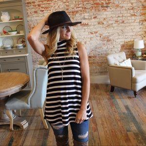 Tops - Black and white striped sleeveless turtleneck