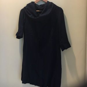 Dresses & Skirts - Navy cowl-neck 3/4 sleeve dress