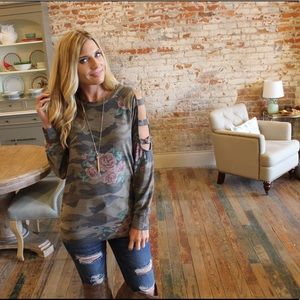 Camo and floral ladder sleeve top