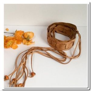 Accessories - Boho a Vintage Woven Leather Belt with Tassels