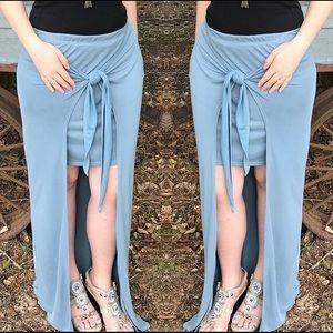 Dusty Blue Tie Wrap Maxi Skirt