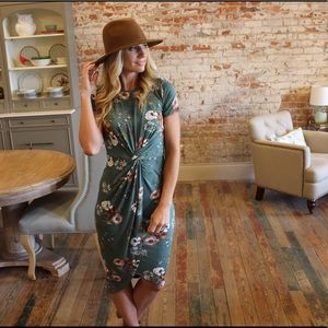 Green floral twist front dress
