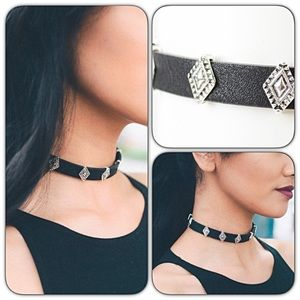 Jewelry - Black Silver Charms Faux Leather Adjustable Choker