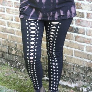 Lace Up Black Pants