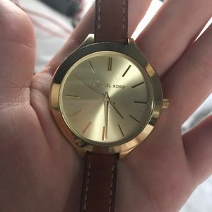 Michael Kors Women Runway SlimDouble Leather Watch