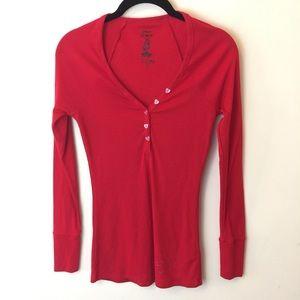 Betsey Johnson Intimates Red Ribbed Henley Shirt