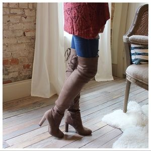 Taupe over the knee vegan suede boots