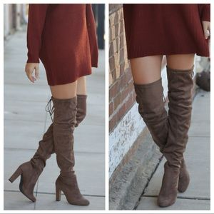 ✨RESTOCKED✨Taupe over the knee vegan suede boots